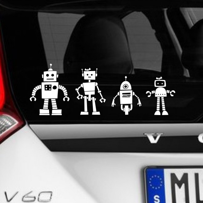 Decal robots family sticker