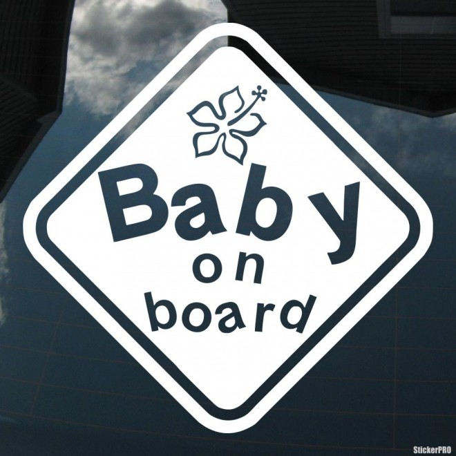 Decal baby on board hibiscus