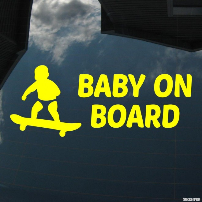 Decal Baby on Board a child on a skateboard 2