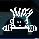 Decal child with curly hair in the car