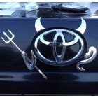 3D Sticker on car label Devil: the horns, tail and trident