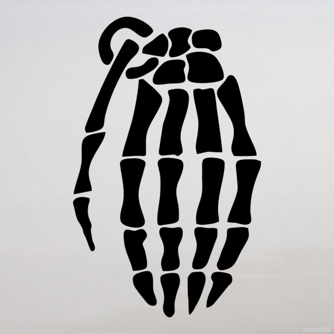 Decal skeleton army hand grenade JDM