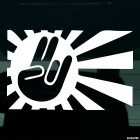 Decal Shocker gesture against a rising sun JDM