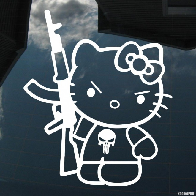 Decal Hello Kitty with Kalashnikov gun JDM