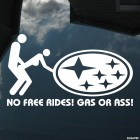 Decal No Free Rides! Gas or Ass! Subaru JDM