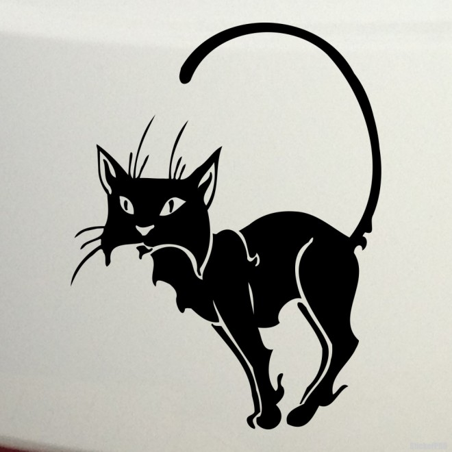 Decal cat sits lifting its tail