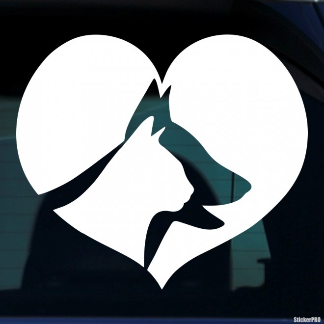 Decal dogs and cats in love