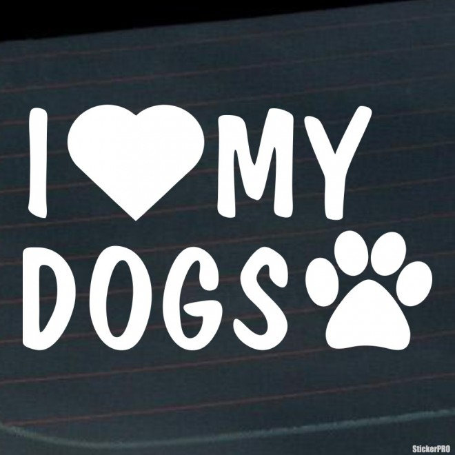 Decal I Love my dogs footprint with heart