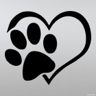 Decal Love heart dogs footprint
