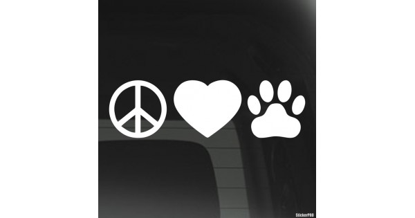 Decal infographics peace love dogs footprint buy vinyl decals for car or interior decal factory stickerpro different colors and sizes is avalable