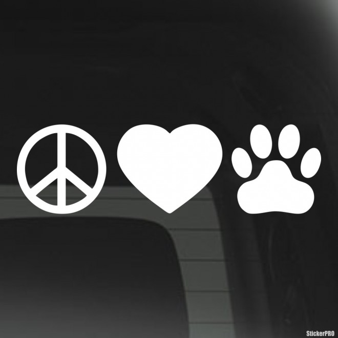 Decal Peace Love dogs footprint infographics