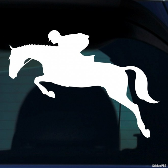 Decal jumping horse and rider, equestrian sports