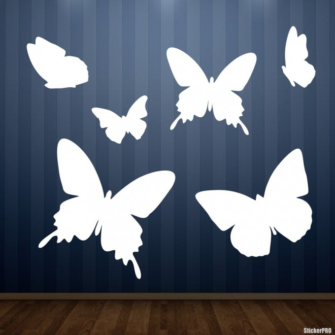 Decal butterfly set for interior design 6 pcs. II