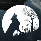 Decal wolf howling at the moon near a tree