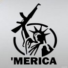Decal 'merica with AK-47 parody on The Statue of Liberty