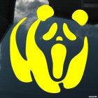 Decal Panda with a face from the movie Scream
