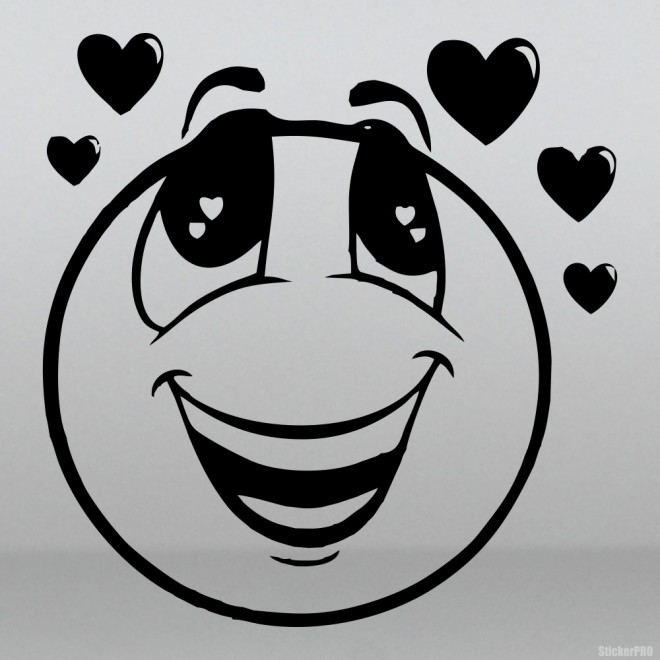 Decal smiley in love with hearts