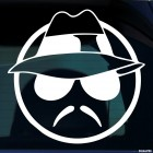 Decal serious smiley wearing a hat, glasses and a mustache