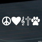 Decal Peace Love Music God Pets