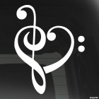 Decal bass trible clef love heart