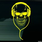 Decal skull with headphones 2