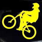 Decal cyclist in helmet trick BMX