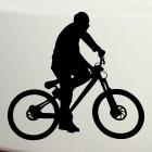 Decal cyclist rides BMX