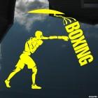 Decal boxing man beats pear