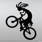 Decal cartoon cyclist on the rear wheel