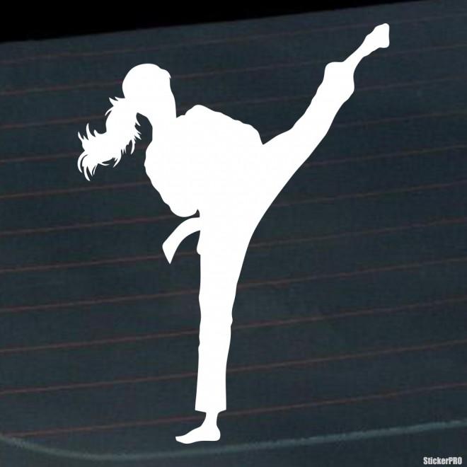Decal karate girl kick 2