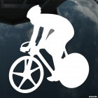 Decal cyclist on road bike