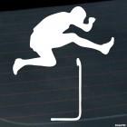 Decal running hurdler jump