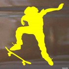 Decal skateboarder doing a stunt Ollie