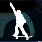 Decal skateboarder doing a stunt Olli before jump