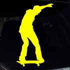 Decal skateboarder keeps the balance