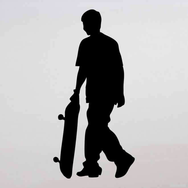 Decal skateboarder goes