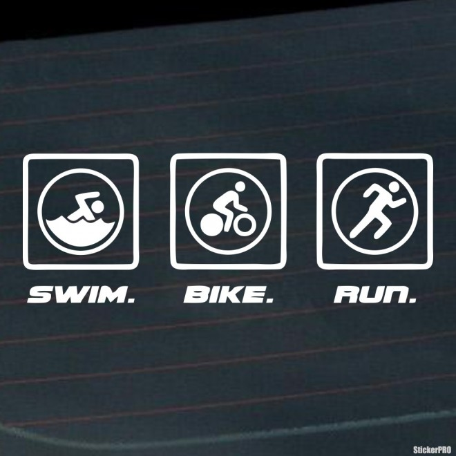 Decal triathlon swim. bike. run.