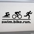 Decal triathlon swim.bike.run.