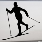 Decal skier rides on the track, winter sports