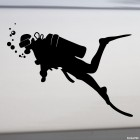 Decal diver and blowing bubbles