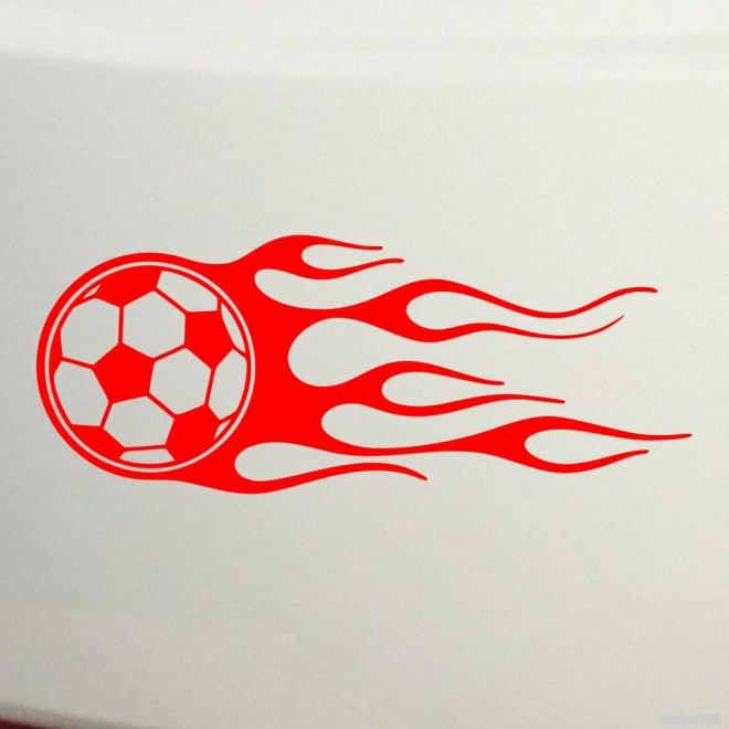 Decal soccer ball with fire flames
