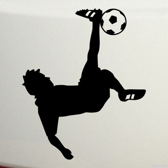 Decal soccer player scores a goal by heel, soccer