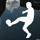 Decal soccer player takes the ball on the leg, soccer