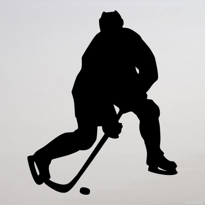 Decal hockey player throwing, winter sports
