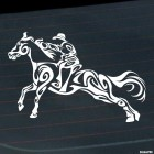 Decal show jumping horse and cowboy, equestrian