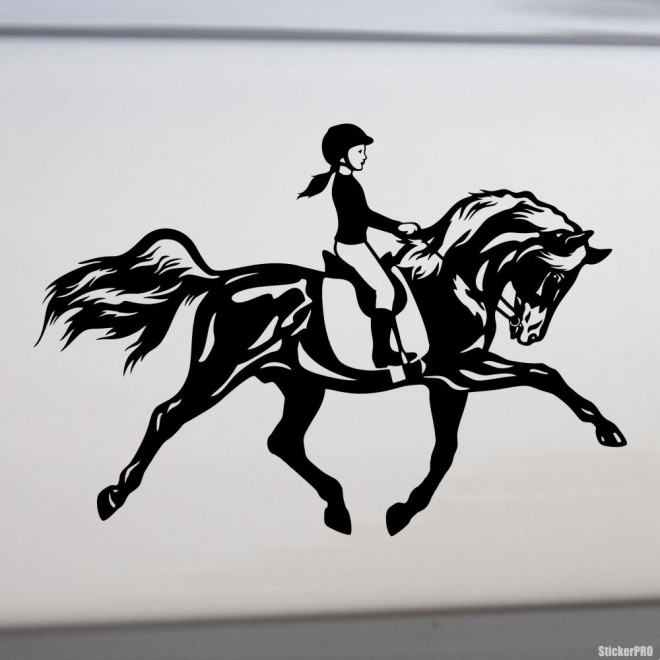 Decal show jumping girl on a horse, equestrian sport