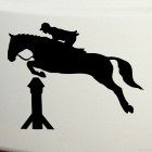 Decal show jumping over a hurdle, horse riding