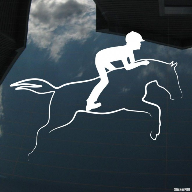 Decal show jumping horse and rider, horse riding sport