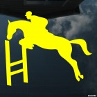 Decal show jumping over a hurdle, equestrian sport