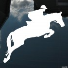 Decal horse and rider jumping over a hurdle, horse riding